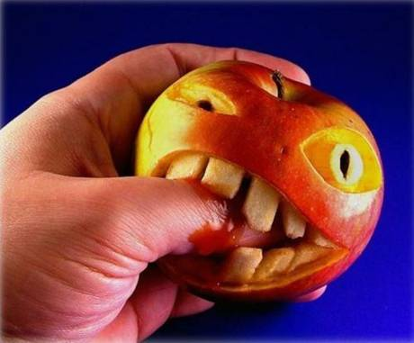 Food art biting apple